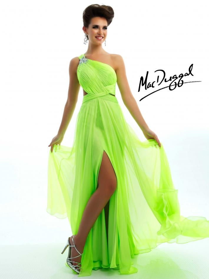 Neon Lime One Shoulder Prom Dress