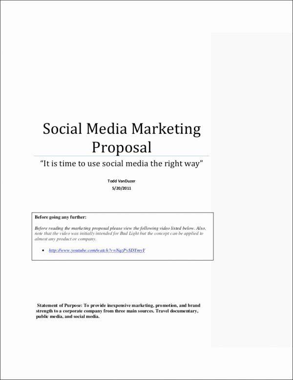 Social Media Marketing Proposal Template Unique Free 6 Social Media Marketing Proposal Sample Marketing Proposal Marketing Proposal Template Proposal Templates Social media proposal templates