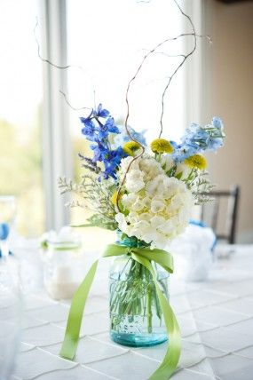center pieces - Wild blue and white flowers, a range of, in a mason jar or milk bottle with ribbon (gypsoph?)