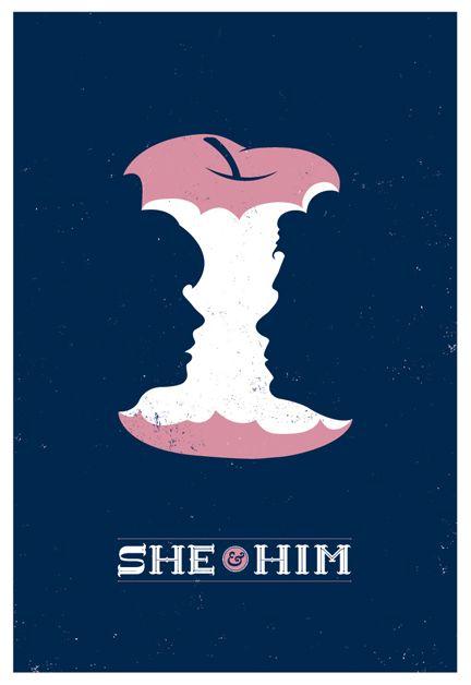 She & Him poster by Chris DeLorenzo