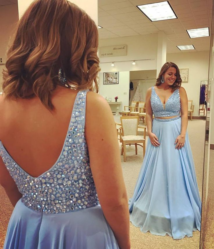 Sky Blue Chiffon Beaded V-neck Prom Dresses,Plus Size Prom Dresses,Two Pieces Prom Dresses,PD2306