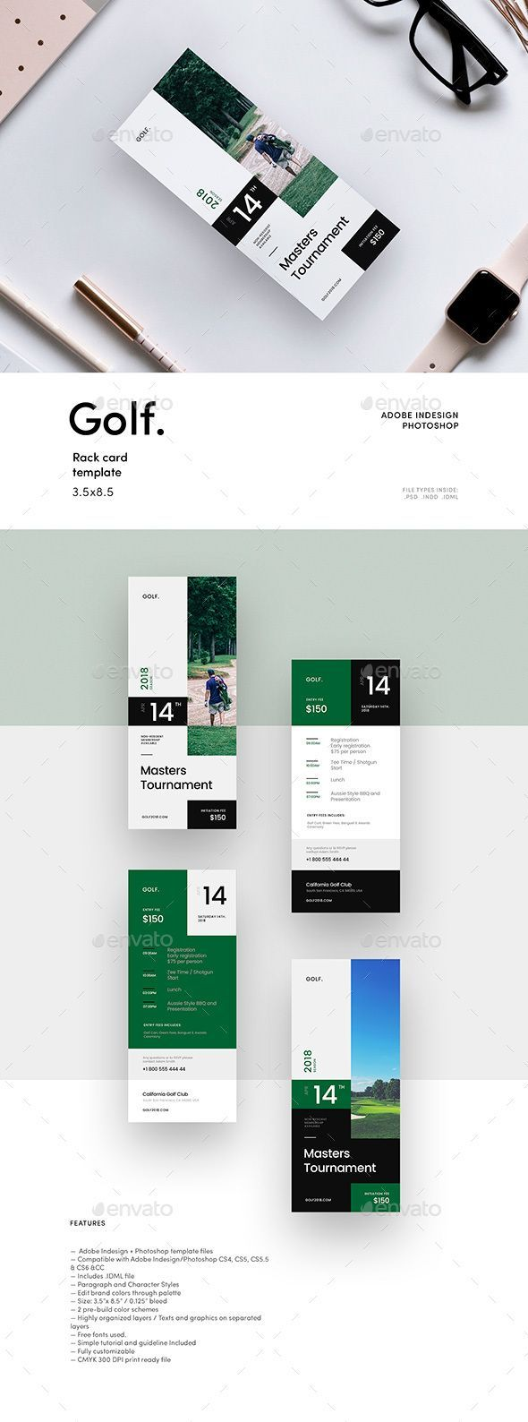 Golf Tournament Rack Card Template Clean And Simple Golf Rack Card Template Perfectly Suits For Golf Tournament Rack Card Templates Rack Card Golf Tournament