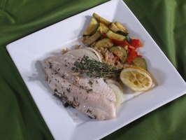 broiled catfish with fresh thyme, garlic and lemon