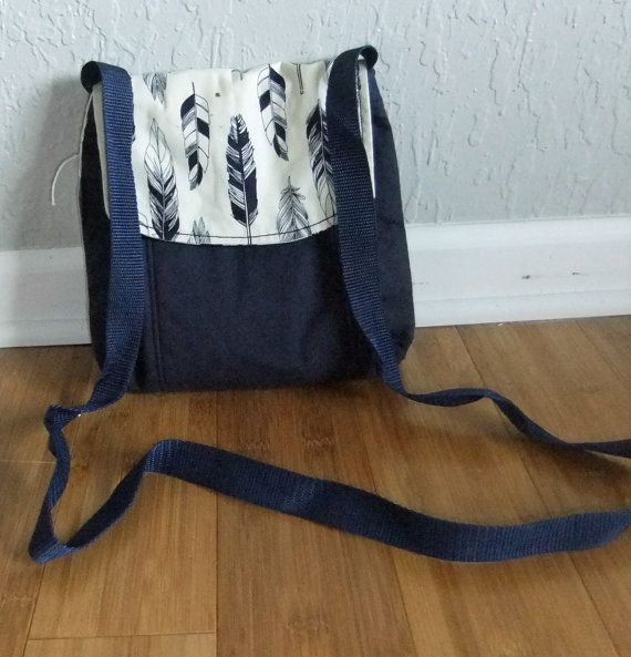 Small Messenger Bag - made by me with  feather print and navy blue fabric - crossover purse - crossbody bag