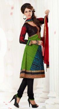 Scintillating Black & Parrot Green Salwar Kameez