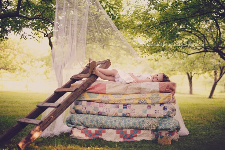 "photo inspired by ""princess & the pea"" -- such a cute idea for a little girl"