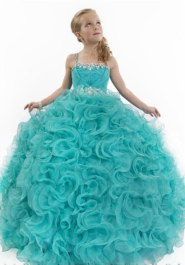 #Wishesbridal Formal Spaghetti Strap Tulle Green Ball Gown Girls Pageant Dress B3ra0016