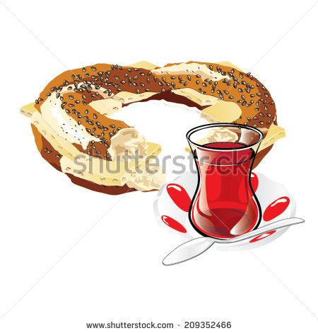 A cheesed bagel and a glass of Turkish tea illustration. - stock vector  #tea #simit #bagel