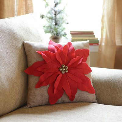 Red Poinsettia Jingle Throw Pillow - make this with no bells?