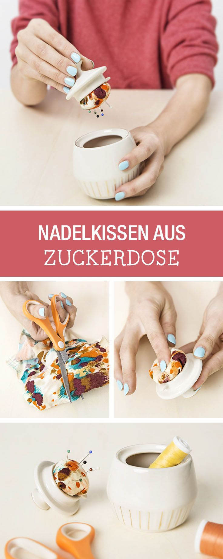 DIY-Anleitung: Praktisches Nadelkissen aus kleiner Zuckerdose basteln, Nähaccessoire / DIY tutorial: crafting cute pincushion out of little sugar bowl, sewing accessory via DaWanda.com