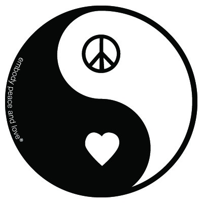 "$2.00 Yin Yang Peace and Love Sticker. Yin Yang and Peace and Love go together like peas and carrots.  4.5"" round diecut, Vinyl UV coated, auto bumper-style outdoor quality sticker. Great sticker adhesion to various surfaces. Sticker is Made in the USA."