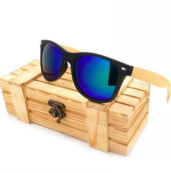 Buy BOBO BIRD Vintage Black Square Sunglasses With Bamboo Legs Mirrored Polarized - Bluefor R358.99