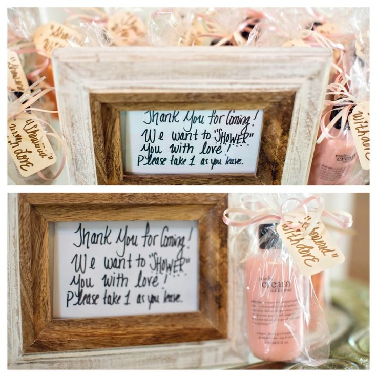 """The bridal shower favors: Philosophy shower gels in ice cream scents (and coral colors to match the brides wedding!) We wanted to """"SHOWER"""" her guests with love! more ==> http://www.sarahrobbins.com/bridal-shower-by-katie-farrell-of-dashing-dish-and-sarah-robbins-of-team-rockin-robbins/"""