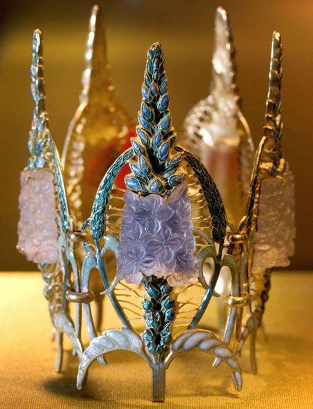 "ArtNouveau glass and enamel ""Speedwell"" bracelet by Rene Lalique."