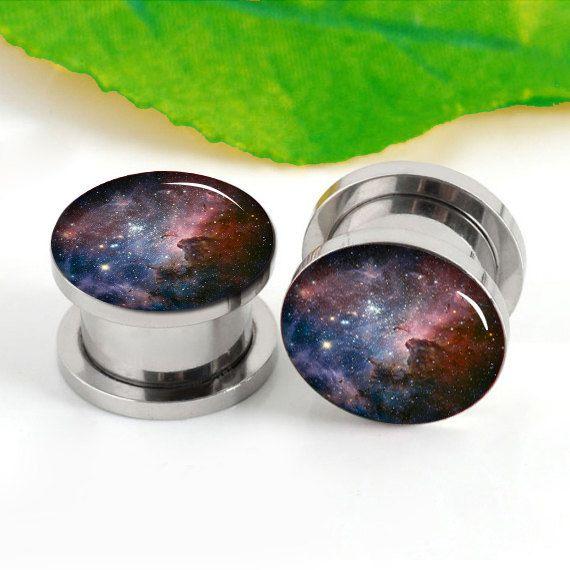 Pairs   Nebula  art   ear plugs , ear plugs,0g,00g ,2g 6--20mm ear plugs , flash stain steel  tunnel silver  ear plugs, screw on   ear plugs