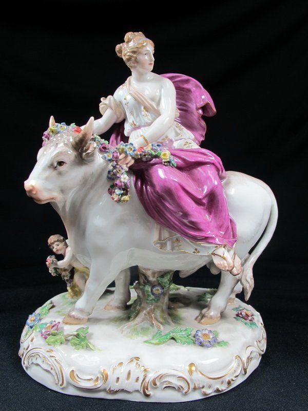 German Meissen Porcelain Statue Of A Woman Riding A Bull