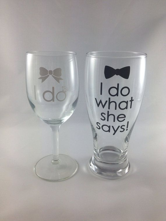 Wine and Pilsner Glass: Personalized Engagement Gift, Bridal Shower Gift, Engagement Party Gift, Future Mrs on Etsy, $24.00