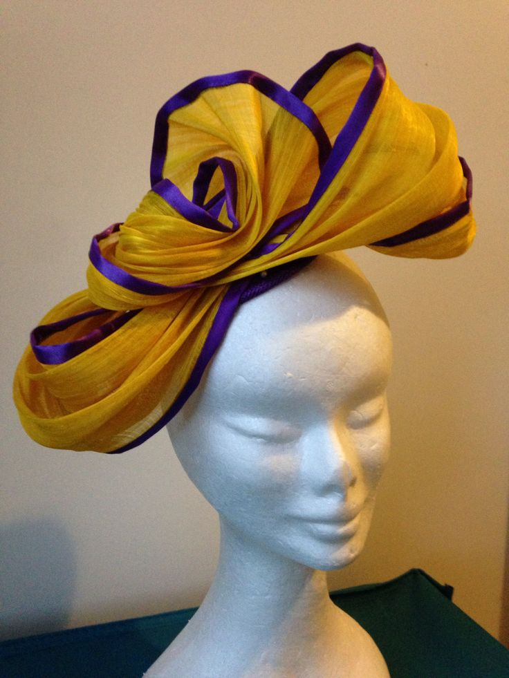 Yellow silk abaca with purple trim with comb