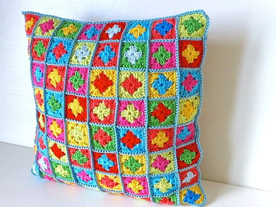 crochet cushion cover Boho cushion cover multicoloured by BabanCat