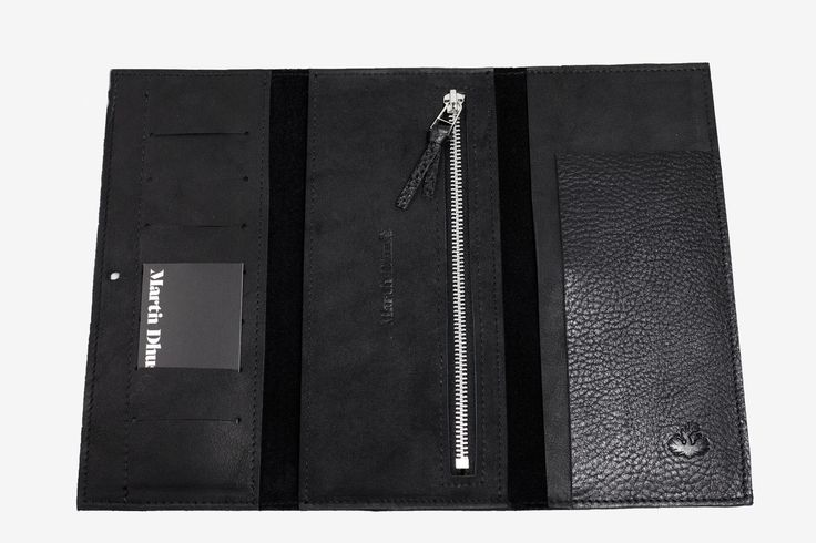 Hamilton wallet Martin Dust slots for cards  Two pockets Zipped pocket leather wallet cuire black minimalist made in Montréal: