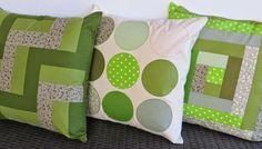 Coixins de patchwork en verd // Cojines de patchwork en verde // Green patchwork cushions
