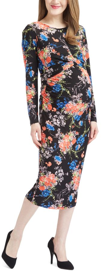 Glam Coral & Black Floral Ruched Maternity Bodycon Dress