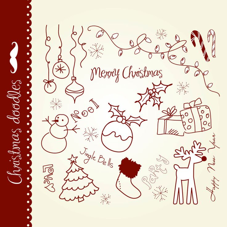 Christmas doodles clip art hand drawn elements by GraphicMarket