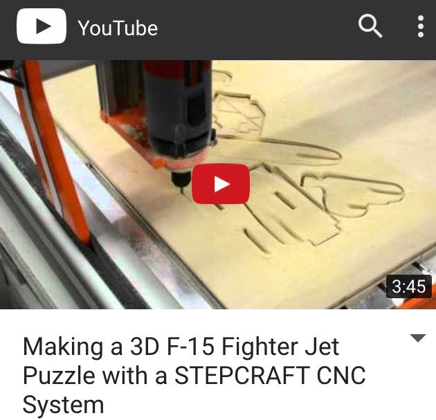 8 best 4th axis rotary on stepcraft images on pinterest rotary making a 3d f 15 fighter jet puzzle with a stepcraft cnc system fandeluxe Gallery