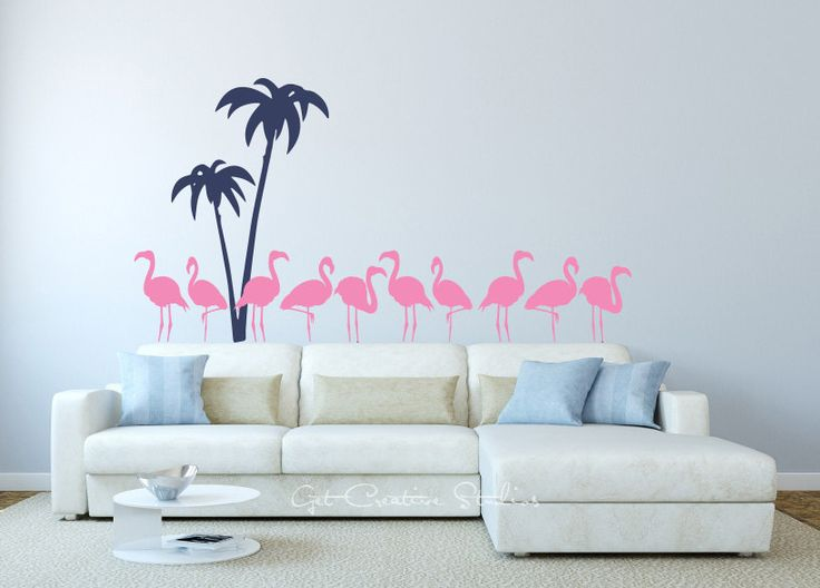 Flamingo Decal Tropical Palm Tree Pink Wall Sticker Birds Island Tropics Palm Tree Decal Flamingos by GetCreativeStudios on Etsy