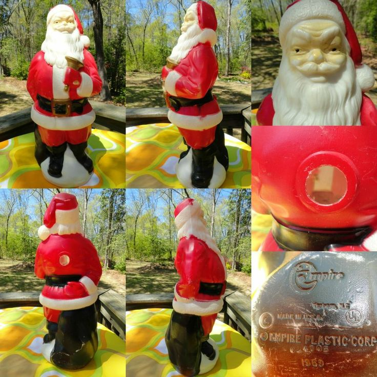 Lot Of 5 Vintage Christmas Decorations Kitsch Santa Claus: VTG 1960s Retro Christmas Outdoor 1969 Empire Plastic