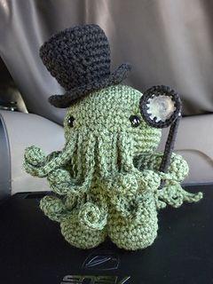 Cthulhu Amigurumi Crochet Pattern - FREE super cute kawaii Victorian steam punk style toy to make