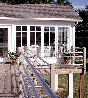 Smart Steel Pipe        Horizontal runs of galvanized-steel pipe form a striking yet inexpensive deck railing.
