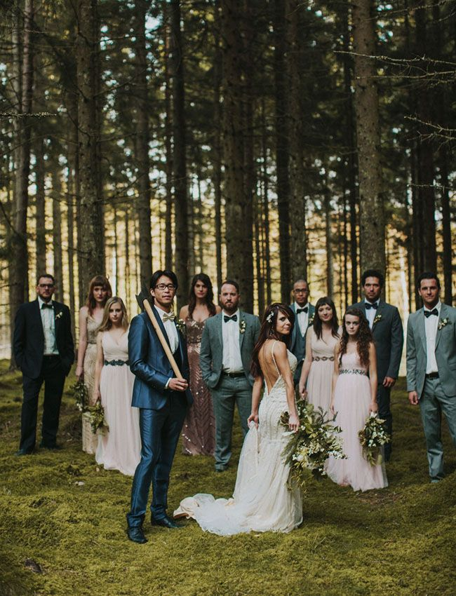 The forests of Sweden provide the romantic, moody setting for this gorgeous destination wedding, featuring a glittering Maggie Sottero wedding dress.