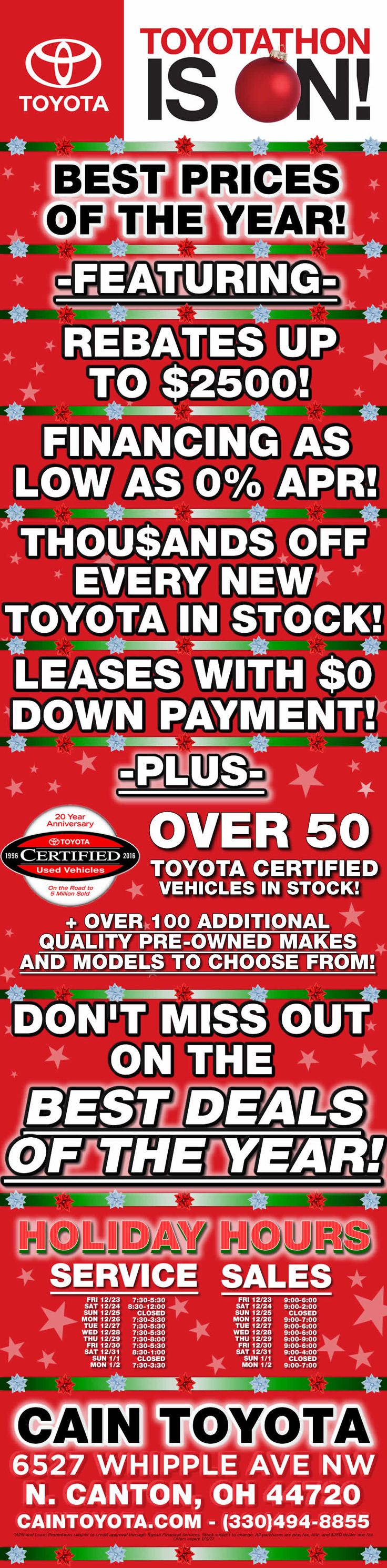 Last weekend to save big on a new toyota during toyotathon our holiday