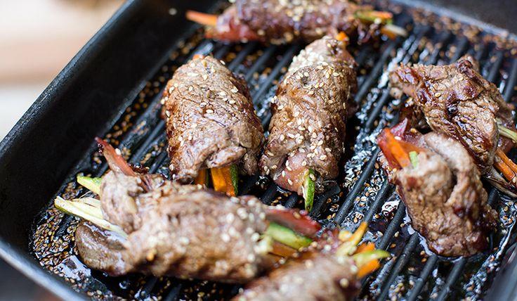 Rolls Oriental de filete con verduras