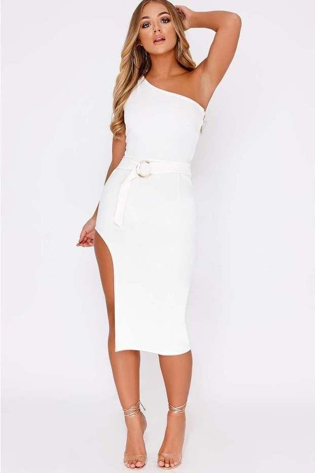 737414db2add Billie faiers white one shoulder side split midi dress