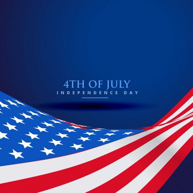 American flag in wave style Free Vector