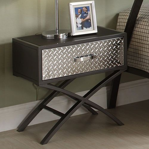 Black W/ Silver Drawer Nightstand Homehills Nightstands Nightstands Bedroom  Furniture