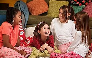 children having a sleepover at a friends house