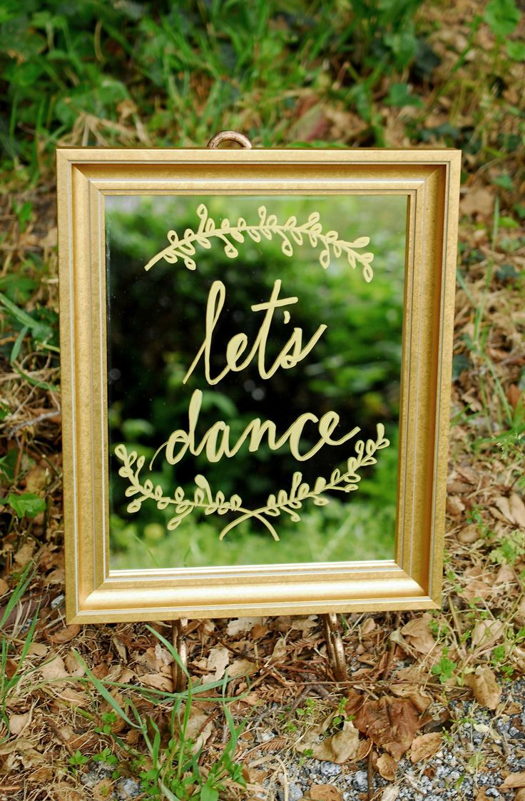 Write on framed mirrors in metallic chalk marker for unique party or wedding signage.