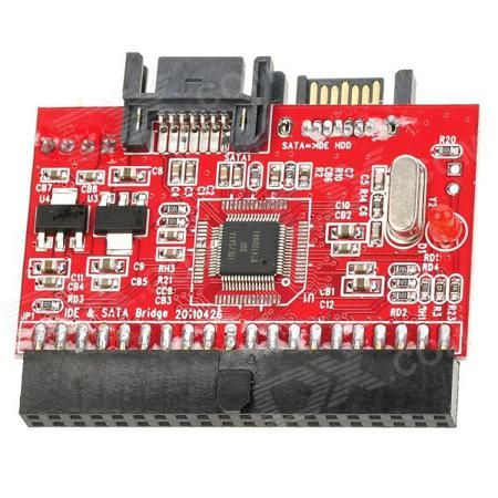 HDD / CD-ROM 40-Pin IDE to SATA or SATA to 40-Pin IDE Bidirectional Adapter Card - Red + Black  — 264.23 руб. —  Brand N/A Model IDE-SATA Quantity 1 Piece Color Red + black Material ABS + copper + lead Compatible Models SATA motherboard IDE devices Interface 40-pin IDE female to SATA male Features One 40-pin IDE port; One Serial ATA port; One 4-pin power connector; Converts Serial ATA to Parallel ATA; Supports ATA 100 / 133; Compliant with serial ATA specification; Convert the IDE to SATA or…