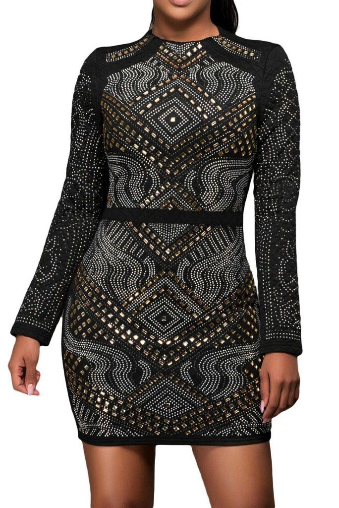 Robe Bodycon Noir Jeweled Matelasse Manches Longues