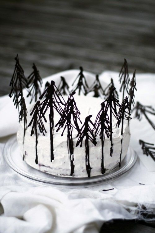 Black Forest Cake with chocolate trees . idea