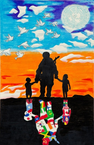 "Lions Club Peace Poster Contest Finalists 2011-12  Merit Award Winner  Jonathan Metra (12), Guam    "" The soldier represents war and the children represent the need for peace in the world. A world without war is important to them because they are the future."""