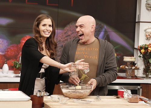 Mercedes Masohn from 666 Park Avenue cooking with Michael on The Chew