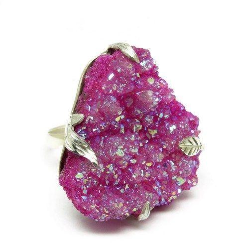 Graceful !! Pink Druzy Rough Fancy Shape Pink Color Gemstone RingARCB1365-2 #Handmade