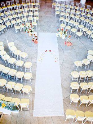 Guests seated all around instead of the traditional bride and groom's sides