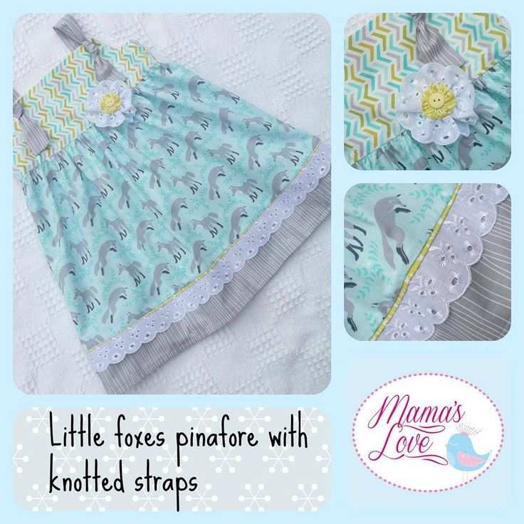 Handmade by Mamas Love Childrens Clothing and accessories Little foxes pinafore with knotted straps. Size 2.