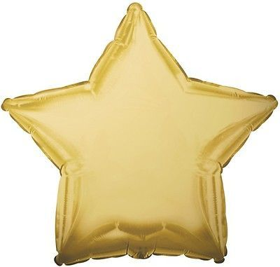 """18"""" Solid Antique Gold Star Shape Balloon Wedding Baby Shower Birthday Over Hill"""
