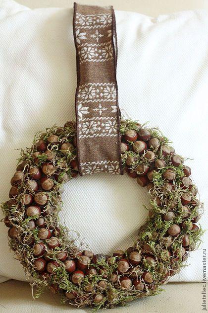 """Рождественский веночек """"Нескучный лес"""" - коричневый,рождественский венок"""